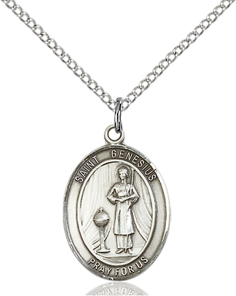 Sterling Silver St. Genesius of Rome Pendant