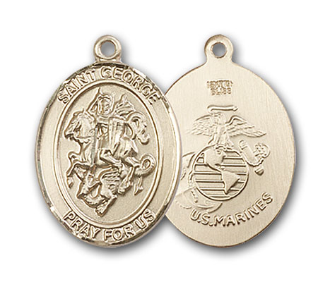 14K Gold St. George Marines Pendant