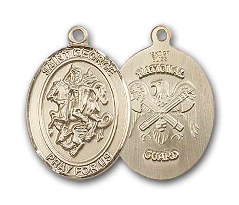 14K Gold St. George National Guard Pendant