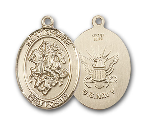14K Gold St. George Navy Pendant