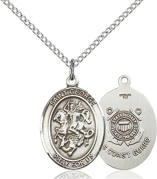 Sterling Silver St. George Coast Guard Pendant