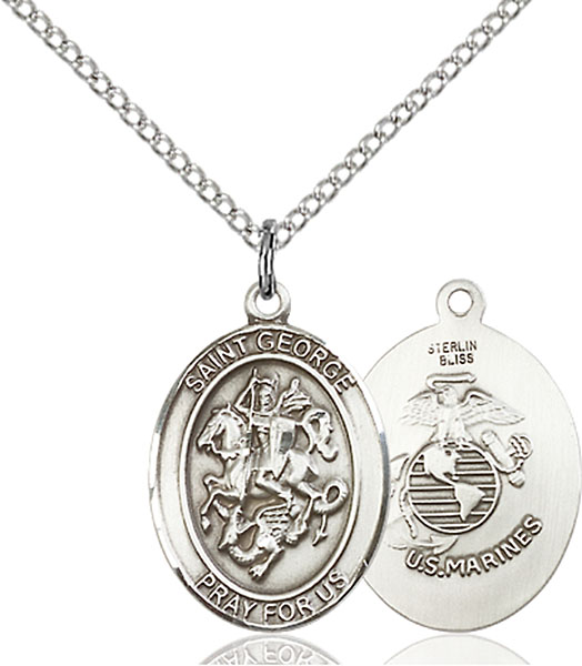 Sterling Silver St. George Marines Pendant