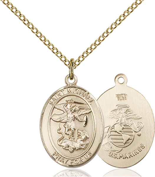 Gold-Filled St. Michael Marines Pendant