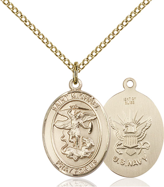 Gold-Filled St. Michael Navy Pendant