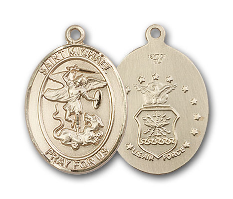 14K Gold St. Michael Air Force Pendant