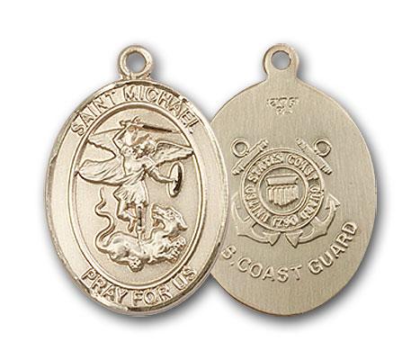 14K Gold St. Michael Coast Guard Pendant