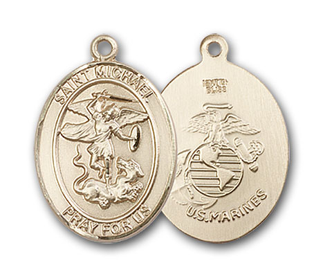 14K Gold St. Michael Marines Pendant