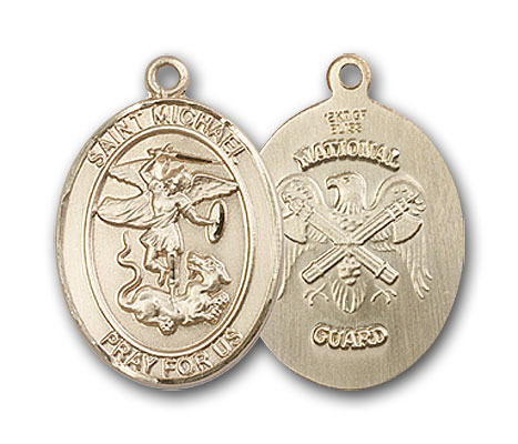14K Gold St. Michael National Guard Pendant