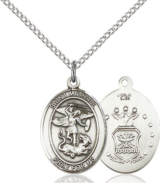 Sterling Silver St. Michael Air Force Pendant