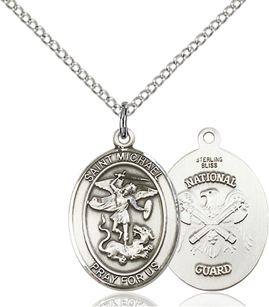 Sterling Silver St. Michael National Guard Pendant