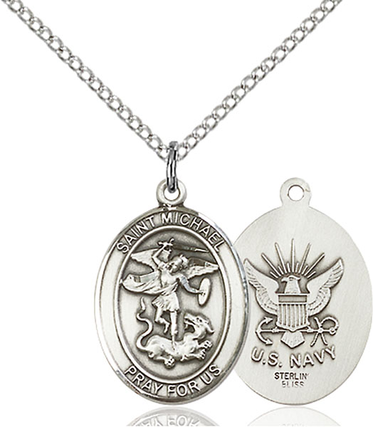 Sterling Silver St. Michael Navy Pendant