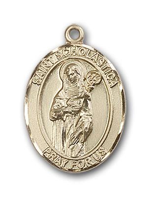 14K Gold St. Scholastica Pendant