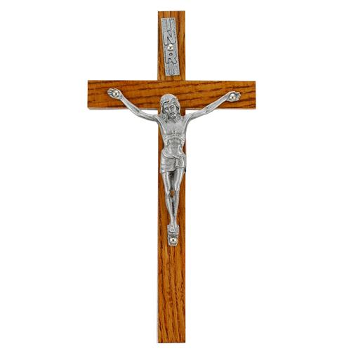 "8"" Walnut Crucifix Sil Corpus"
