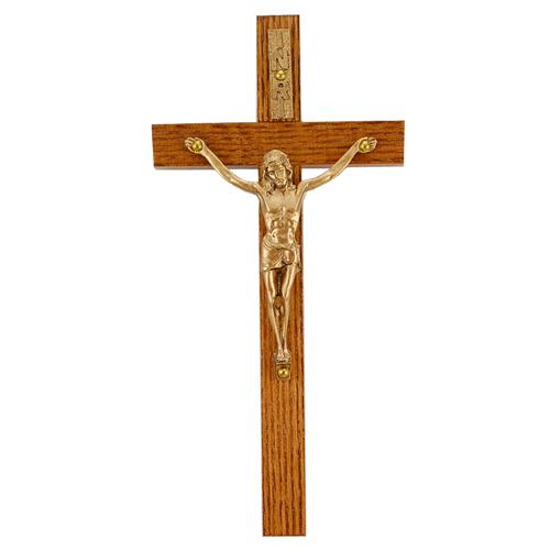 """8"""" Walnut Crucifix Gold Corpus"""