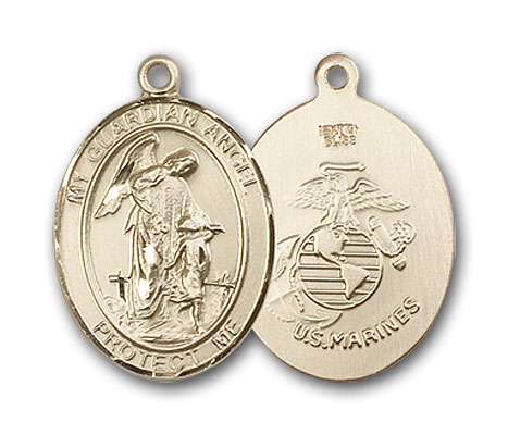 14K Gold Guardian Angel Marines Pendant