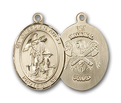 14K Gold Guardian Angel National Guard Pendant