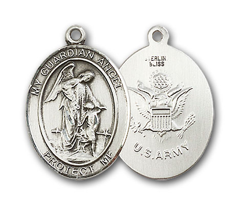 Sterling Silver Guardian Angel Army Pendant