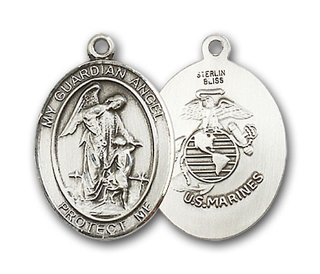 Sterling Silver Guardian Angel Marines Pendant