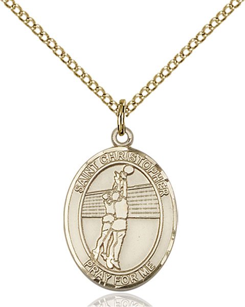 Gold-Filled St. Christopher Volleyball Pendant