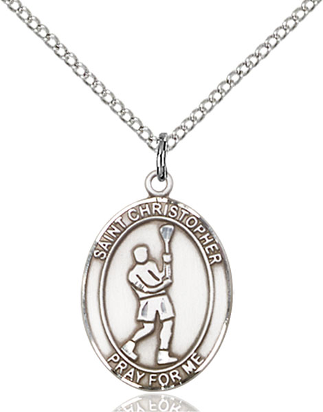 Sterling Silver St. Christopher Lacrosse Pendant