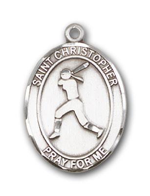 Sterling Silver St. Christopher Softball Pendant