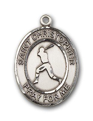 Sterling Silver St. Christopher Baseball Pendant
