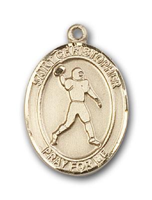 14K Gold St. Christopher Football Pendant