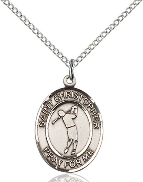 Sterling Silver St. Christopher Golf Pendant