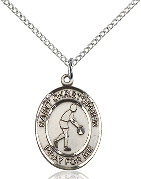 Sterling Silver St. Christopher Basketball Pendant