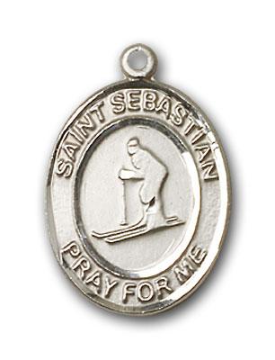 Sterling Silver St. Sebastian Skiing Pendant