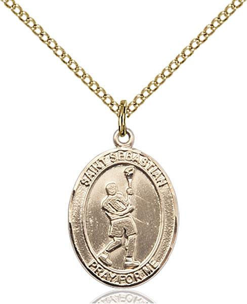 Gold-Filled St. Sebastian Lacrosse Pendant