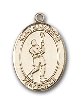 14K Gold St. Sebastian Lacrosse Pendant