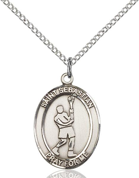 Sterling Silver St. Sebastian Lacrosse Pendant