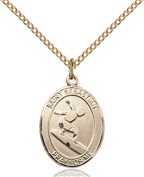 Gold-Filled St. Sebastian Surfing Pendant