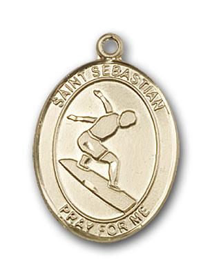 14K Gold St. Sebastian Surfing Pendant