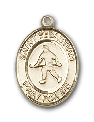 14K Gold St. Sebastian Field Hockey Pendant