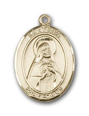 14K Gold St. Rita of Cascia Baseball Pendant