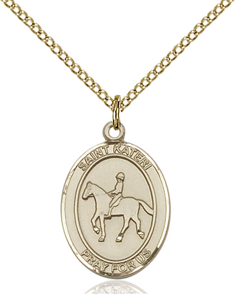 Gold-Filled St. Kateri Equestrian Pendant