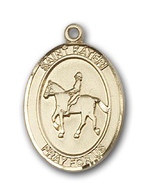 14K Gold St. Kateri Equestrian Pendant