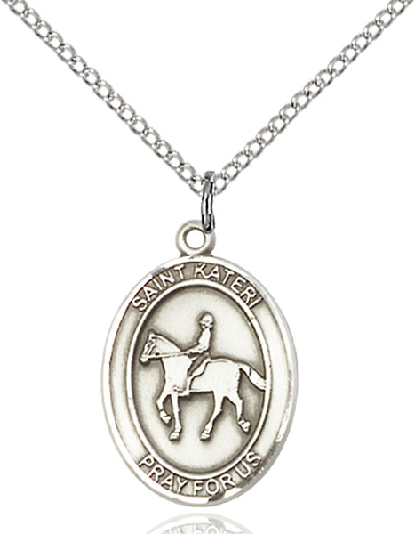 Sterling Silver St. Kateri Equestrian Pendant