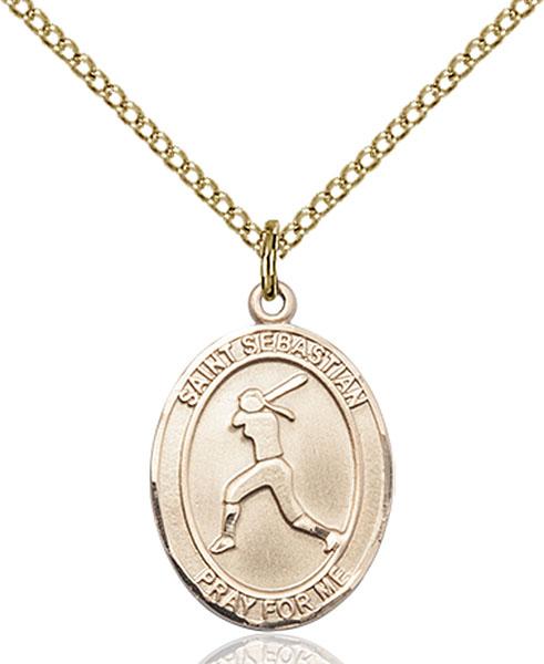 Gold-Filled St. Sebastian Softball Pendant