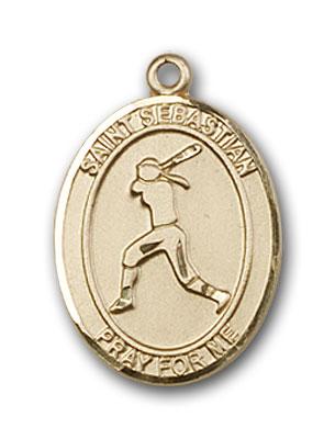 14K Gold St. Sebastian Softball Pendant