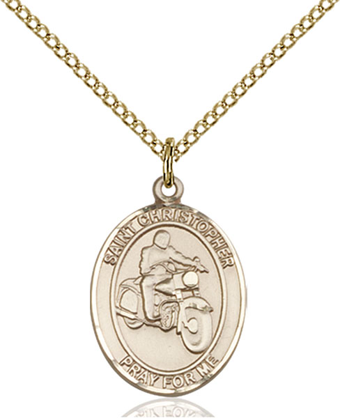 Gold-Filled St. Christopher Motorcycle Pendant