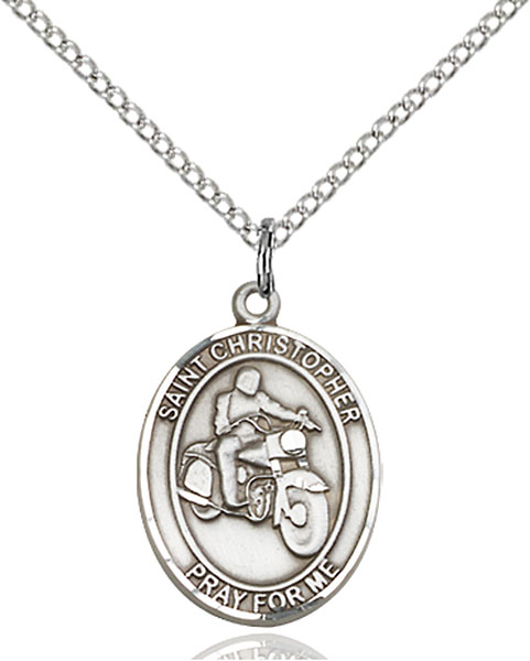 Sterling Silver St. Christopher Motorcycle Pendant