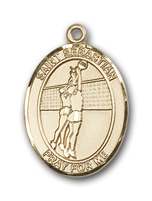 14K Gold St. Sebastian Volleyball Pendant