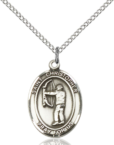 Sterling Silver St. Christopher Archery Pendant