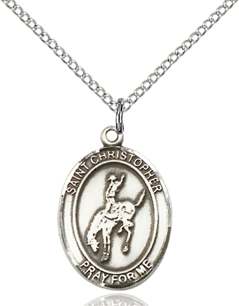 Sterling Silver St. Christopher Rodeo Pendant