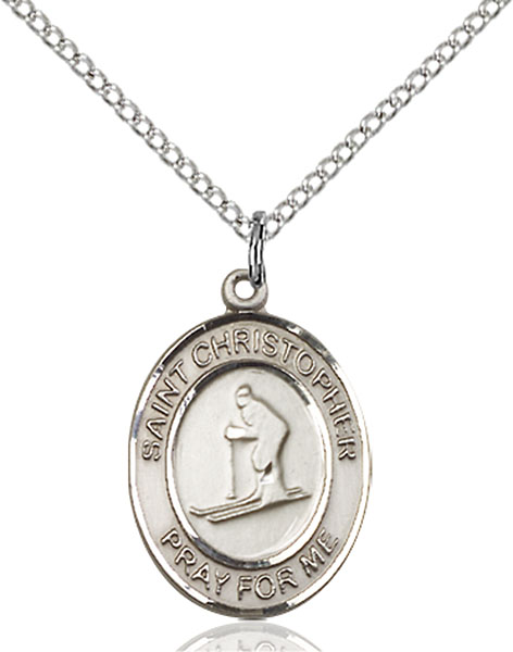 Sterling Silver St. Christopher Skiing Pendant