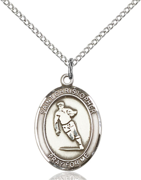 Sterling Silver St. Christopher Rugby Pendant