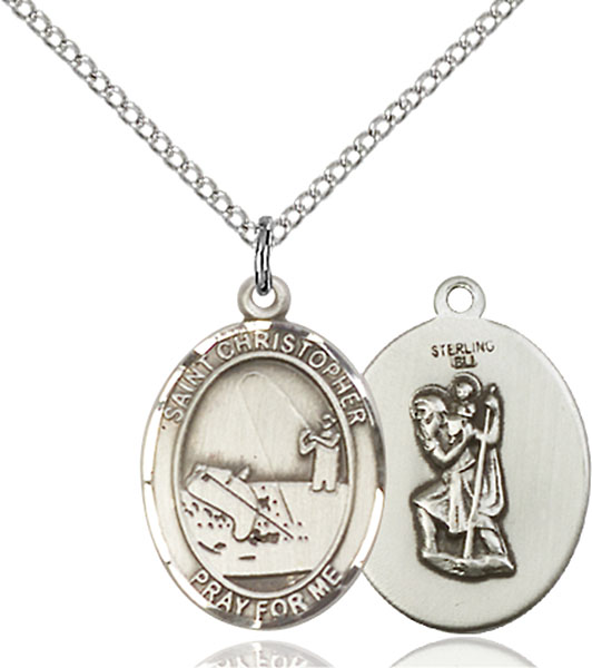 Sterling Silver St. Christopher Fishing Pendant
